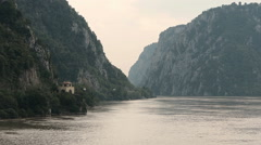 Danube river Gorge lighthouse Stock Footage