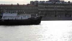 Barge cargo ship goes on the river Neva, St peretburg Russia Stock Footage