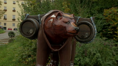 Bear Carrying Kegs of Beer Statue Stock Footage