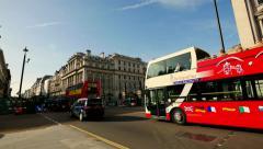 London street  uk  Traffic red bus Stock Footage