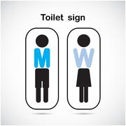 man and woman toilet sign, restroom symbol . - stock illustration