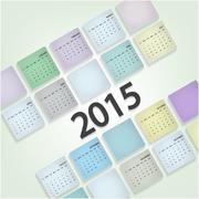 calendar 2015 design template week starts sunday - stock illustration