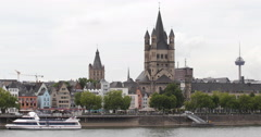 UHD 4K Great Saint Martin Church Cologne Old Town Skyline Colonius TV Tower Ship Stock Footage