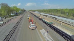 Building site of ring railway widening for passenger traffic Stock Footage