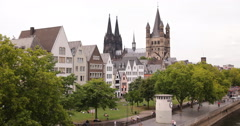 UltraHD 4K Cologne Skyline Cathedral Sidewalk People Walk Tourist Visit Old Town Stock Footage