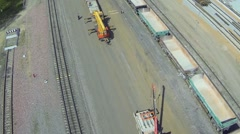 Cranes work on building site of railroad beltway widening Stock Footage