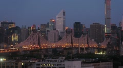 Queensboro Bridge and cityscape during sunrise. Time lapse. Stock Footage