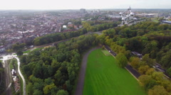 Brussels from above, city symbol Atomium, buildings parks aerial Stock Footage