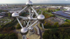 Atomium close-up atoms huge large reflective steel balls, museum Stock Footage