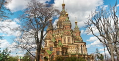 Russia, Petrodvorets. St. Peter and Paul Church. Time lapse Stock Footage