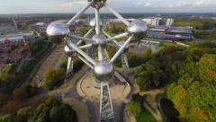 Flying shot of Atomium, scientific monument of Belgium Brussels Stock Footage