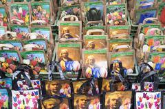 Bulb bags with the portrait of the painter rembrandt van rijn Stock Photos