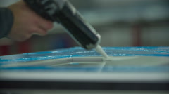 Filling the gap with special glue Stock Footage
