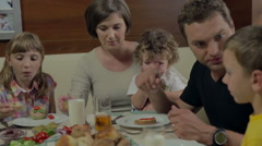 Family have breakfast Stock Footage