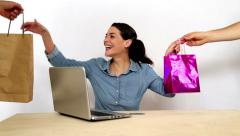 Black friday awsome delivery of shopping online sales - stock footage