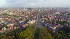 Brussels beautiful traffic city view, streets buildings aerial - stock footage