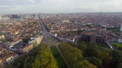Pan of Brussels aerial view, buildings streets quarters parks - stock footage