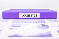 logistics management with graph analysis of distribution report - stock photo