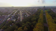 Aerial Brussels shot city park National Basilica of Sacred Heart - stock footage