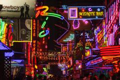 Red district lightings in bangkok Stock Photos