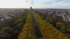 Beautiful autumn park alley aerial shot, Brussels Park Elisabeth - stock footage