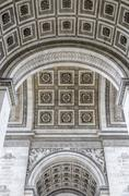 detail of the underneath of the arc de triumph - stock photo