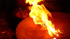 Fire flame in Ice bowl Stock Footage