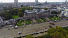 Tourist attraction in Brussels Royal Palace aerial view, parade - stock footage