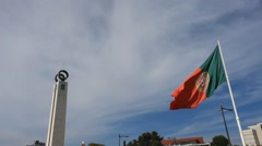 Portugal flag with pillar .mp4 Stock Footage