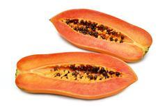 Stock Photo of papaya fruit section isolated