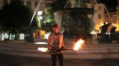 Punk Fire Dancer in Lisbon Stock Footage