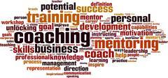 coaching word cloud - stock illustration