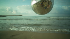 discoball ocean sea party music disco event mirrorball - stock footage