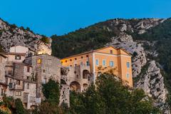 Mountain old village peille, provence alpes, france. night view Stock Photos