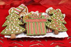 Decorated with icing gingerbread cookies. christmas sweets for children Stock Photos