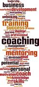 coaching word cloud - stock illustration