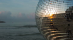 Discoball ocean sea party music disco event mirrorball Stock Footage