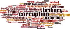 corruption word cloud - stock illustration