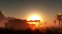 Old rusted tank and sun in desert Stock Footage