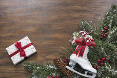 Wood background with a seasonal Christmas theme - stock photo