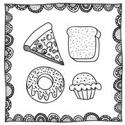 food drawing over white background vector illustration - stock illustration