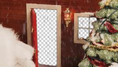 Santa Hand Closes Door With Alpha - stock footage