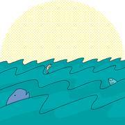 fish in ocean waves - stock illustration