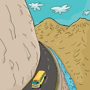 school bus in mountains - stock illustration