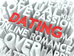 Dating - Red Word Cloud Concept. - stock illustration
