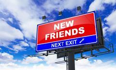 New Friends Inscription on Red Billboard. Piirros
