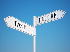 past and future signpost. - stock illustration