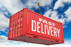 Stock Illustration of Fast Delivery - Red Hanging Cargo Container.