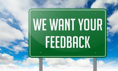 We Want Your Feedback on Highway Signpost. - stock illustration