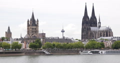 UltraHD 4K Cologne Cathedral Skyline Famous Landmark Iconic Old Town Church Day Stock Footage